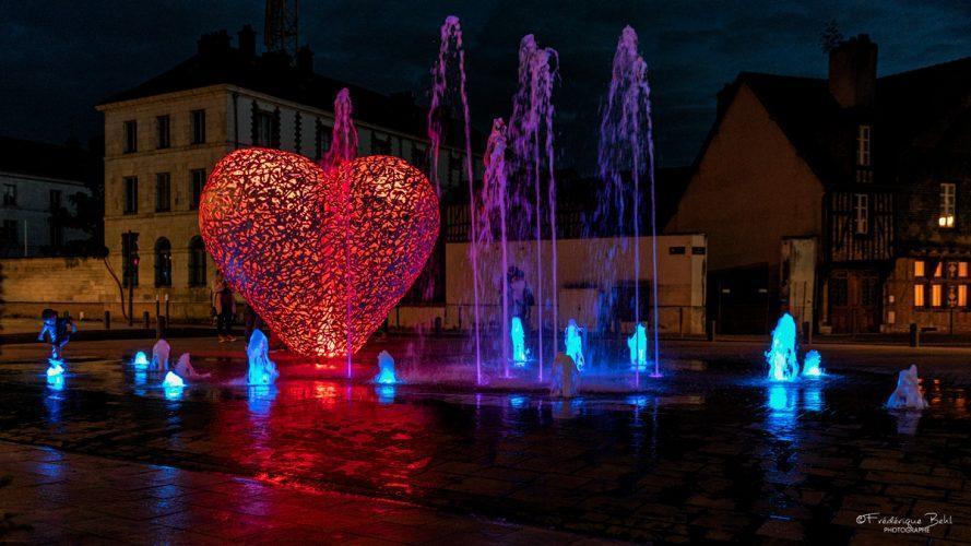 Le cœur et ses jets d'eau, à Troyes